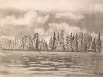 Wasser, Wolken, Bleistiftzeichnung, Landschaft