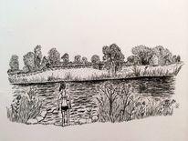 Schwarz, Zeichnung, Natur, Landschaft