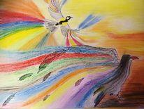 Fantasie, Pastellmalerei, Vogel, Fabercastel