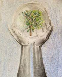 Hände zeichnen, Pflanzen, Klima, Klimaveränderung