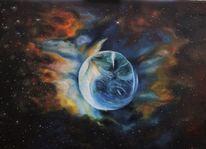 Schwarz, Erde, Malerei, Blau