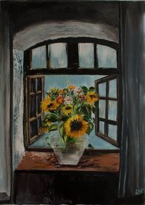 Gelb, Malerei, Blau, Natur