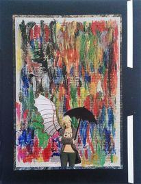 Mädchen, Collage, Abstrakt, Farben