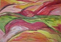 Rosa, Orange, Acrylmalerei, Rot