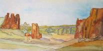 Aquarellmalerei, Aquarell, Arches, Park