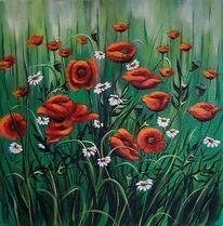 Mohnblumen, Wiese, Wiesenblumen, Malerei