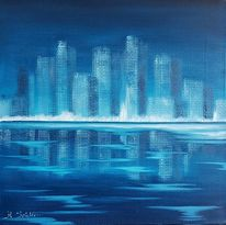 Skyline, Eis, Blau, Winter