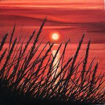 Sonnenuntergang, Abend, Ufer, Malerei