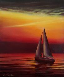 Sonnenuntergang, Segelboot, Himmel, Abendstimmung