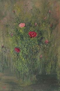 Gras, Blumen, Rose, Malerei
