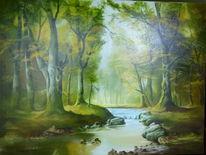 Landschaft bach wald, Malerei, Bach, Wald