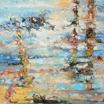Abstrakt, Fliegen, Gemälde, Ölmalerei