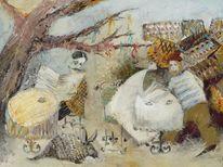 Tryst, Cafe, Gemälde, Ölmalerei