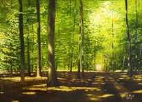 Weg, Öl auf leinwand, Stille, Bäume