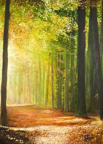 Baum, Braun, Ölmalerei, Tageseinbruch