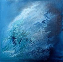 Abstrakt, Blau, Acrylmalerei, Malerei