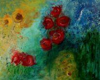 Blüte, Rot, Gelb, Acrylmalerei