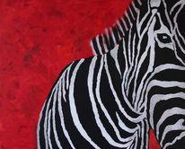 Pferde, Modern, Weiß, Rot schwarz