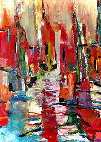 Häuser, Abstrakt, Bunt, Malerei