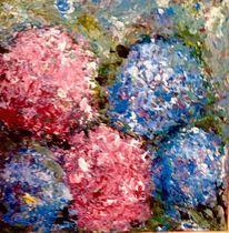 Rosa, Blau, Hortensien, Malerei