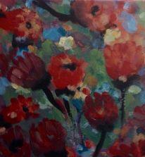 Rot, Abstrakt, Tulpen, Malerei