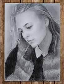 Frau, Bleistiftzeichnung, Portrait, Zeichnungen