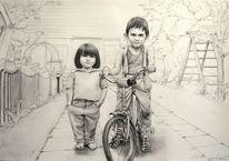 Fahrrad, Ausdruck, Kinder, Zeichnungen