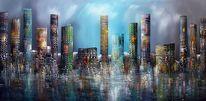 Blau, 3d, City skyline, Modern