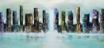 Modern painting original, City skyline, Skyline city, Modern