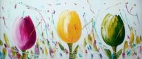 Malerei, Blumen, Tulpen, 3d