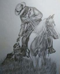Bleistiftzeichnung, Zeichnung, Zeichnungen, Cowboy