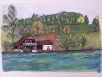 Haus, See, Pastellmalerei, Malerei