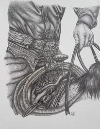 Modern, Bleistiftzeichnung, Pferde, Arbeit