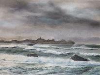 Landschaft, Wasser, Meer, Malerei
