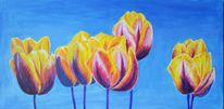 Acrylmalerei, Blau, Tulpen, Frühling