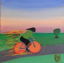Malerei, Fahrrad, Fahrradfahrer, Landschaft
