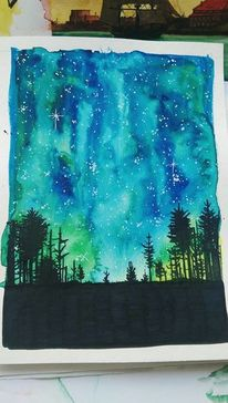 Wald, Aurora, Galaxie, Polarlicht