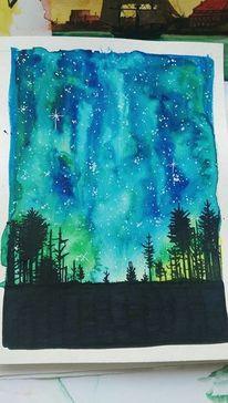 Stern, Wald, Aurora, Galaxie