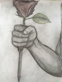 Bleistiftzeichnung, Rose, Zeichnungen, Menschen