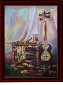 Tisch, Musikinstrument, Pinsel, Malerei