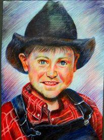 Zeichnung, Westen, Cowboy, Junge