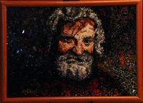 Dunkel, Bart, Mosaik, Grau