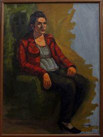Frau sitzen malerei, Malerei, Portrait, Frau