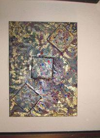 Gold, Wand, Surreal, Acrylmalerei