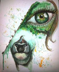 Grün, Acrylmalerei, Augen, Reh