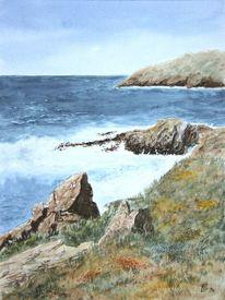 Meer, Küste, Aquarellmalerei, Aquarell