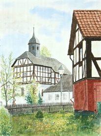 Kirche, Frühling, Fachwerk, Aquarell