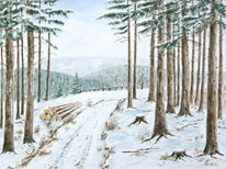 Winter, Harz, Wald, Aquarell