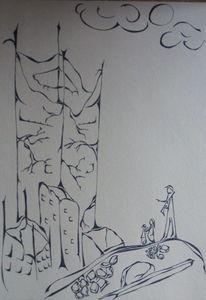 Endzeit, Zeichnung, Geborstener stahl, Tusche