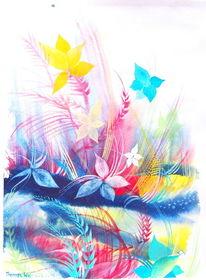 Traum, Gelb, Violet, Blumen